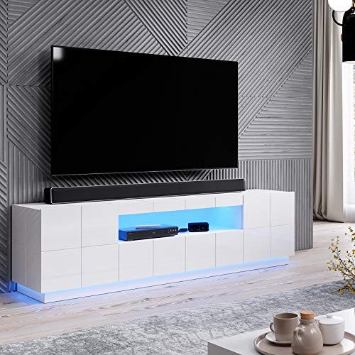 AMA BMF Reja - Mueble para TV (184 cm de ancho, dos puertas, cajones), color blanco brillante
