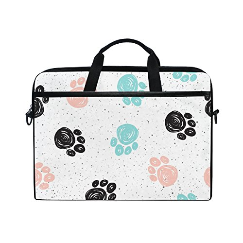 JSTEL Doodle Dog Paw Laptop Shoulder Messenger Bag Case Sleeve for 14 inch to 15.6 inch with adjustable Notebook Shoulder Strap