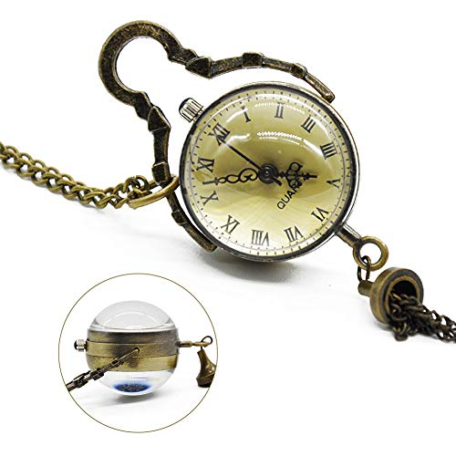 NOBRAND Pocket horloge, antieke vintage glazen bal bal bal oog ketting hanger ketting kwarts Pocket horloge