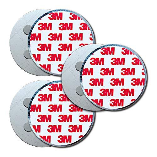 HaftPlus - [3 Stück] Rauchmelder-Magnethalter Ø 70mm, mit 4 extra starken Neodym-Magneten, selbstklebendes 3M Tape für alle Rauch und CO Melder, ohne Bohren für alle Wände und Decken