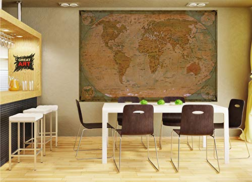 GREAT ART Poster � World Map Antique Style � Picture Decoration Globe Ancient Vintage Card Used Look Atlas Map Old School Image Photo Decor Wall Mural (55x39.4in - 140x100cm) Photo #6