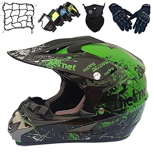 Casco Motocross Niños, Casco Moto Integral para Jóvenes con Gafas/Guantes/Máscara/Red Elástica (5 piezas) Casco Motocicleta Niños & Niñas para Downhill MX ATV MTB Quad Dirt Bike - Verde