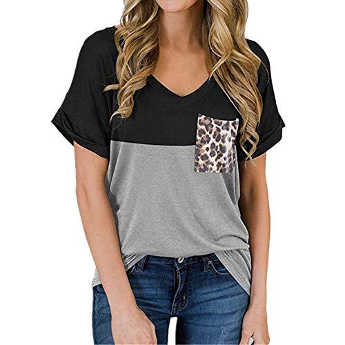 DREAMING-Camiseta Casual De Verano con Cuello En V Y Cuello De Leopardo para Mujer. Negro S