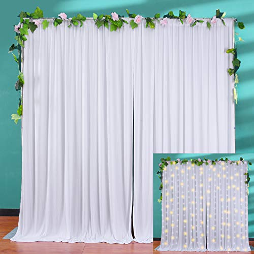 10ft x 10ft White Wrinkle Free Backdrop Curtain Drapes White Backdrop Panels Photography Background for Wedding Birthday Baby Shower Party
