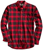 Amazon Brand - Goodthreads Men's Slim-Fit Long-Sleeve Plaid Oxford Shirt, Red Chili, Medium