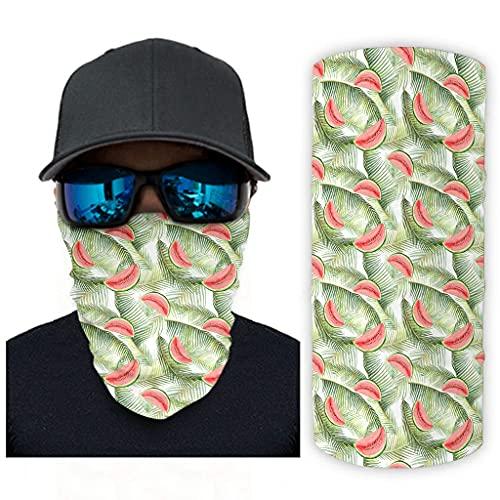 CCMugshop Bandana máscara facial acuarela tropical sandía hojas de palma estampado deporte bandana UV polvo blanco talla única