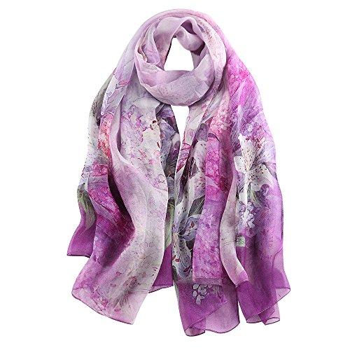 STORY OF SHANGHAI Bufanda de Seda Mujer 100% Seda Estampado Floral Colorido Gran Bufanda Mantón Ultraligero Transpirable Elegante,Lirio Púrpura,175 * 100 cm