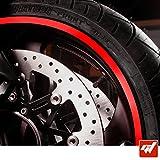 GT-Stickers KIT Liserets de Jante Moto - Rouge - Liseret Autocollant Compatible avec...