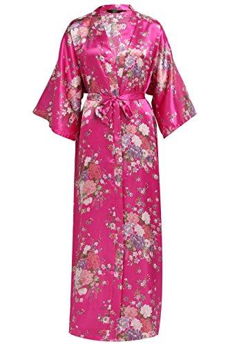 BABEYOND Kimono de Seda Vestido de Satén Kimono Pavo Real Novia Pijamas de Seda Bata de Satén 135 cm (Rosa Rojo)