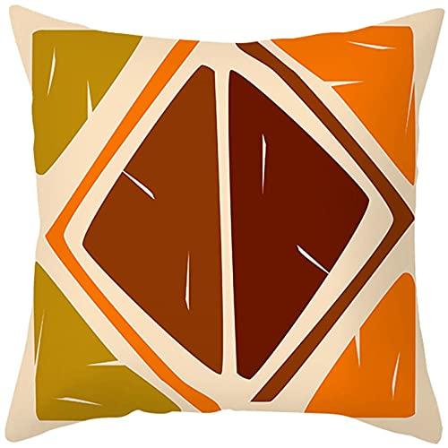 Agoble Funda De Almohada Estampada, Otoño Decoracion Poliéster 1 40X40Cmfunda Cojin Naranja Beige Triángulo Cuadrado Vintage
