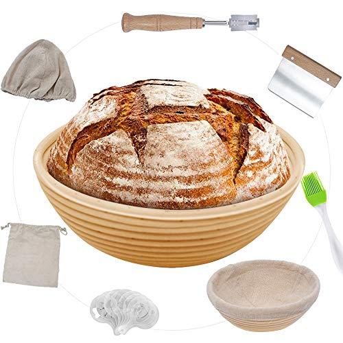 Banneton - Proofing Basket - Sourdough Proofing Basket 9 Inch: Bread Lame+ Dough Scraper, Linen Liner Cloth+ Sourdough Bag+ Bread Stencils + Brush [7 Packs Set]