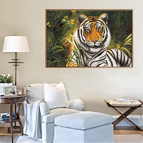 Sanzangtang Dierenprints tijger abstract canvas olieverfschilderij moderne muurkunst woonkamer poster afbeelding zonder lijstwerk