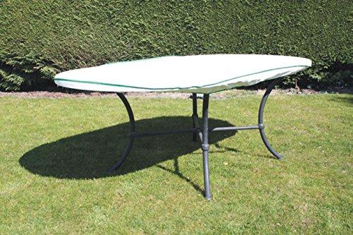 Housse table de jardin ovale Exclusive en Tyvek blanc avec roulement Sacs pour table cloche Bâche 200 x 90 x 15