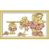 Point de croix broderie ballet ours bricolage couture compté point de croix ensemble pour broderie aiguilles à tricoter artisanat gratuit 11CT imprimé précis 75x45 cm