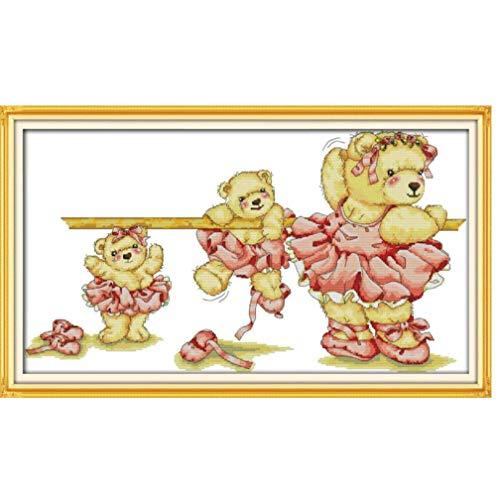 Punto de cruz Bordado Ballet oso DIY Costura contada Juego de punto de cruz para bordar Agujas de tejer Artesanía Gratis 11CT Impreso preciso 75x45cm