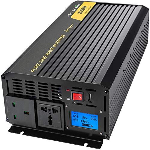 VEVOR Invertitore di Potenza a Onda Sinusoidale Pura, 2000W Invertitore Onda Sinusoidale Pura da DC 12V a AC 240V Protezione Multipla, 2kW Inverter con Schermo LCD e Indicatori LED con Telecomando