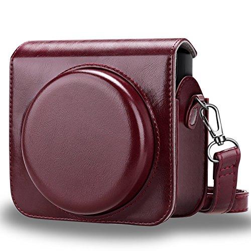 FINTIE Custodia per Fujifilm Instax Square SQ6 - PU Protettiva Case Borsa in Pelle con Tracolla Regolabile per Fujifilm Instax Square SQ6 Fotocamera Istantanea, Borgogna