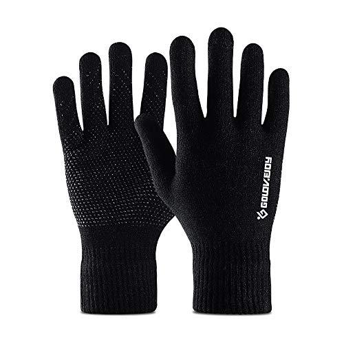 PBFONE Guantes de invierno Guantes de punto antirresbaladizo Guantes de pantalla táctil Guantes de lana mágica con un dedo completo para mujeres Hombres