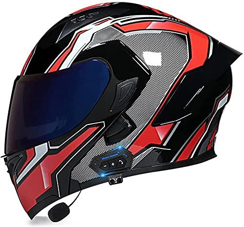 TKTTBD Casco De Cara Completa con Bluetooth, Casco Modular Abatible para Motocicleta, Motocicleta, Ciclomotor, Carreras Callejeras, Casco Inteligente, Aprobado por Dot/ECE A,XL