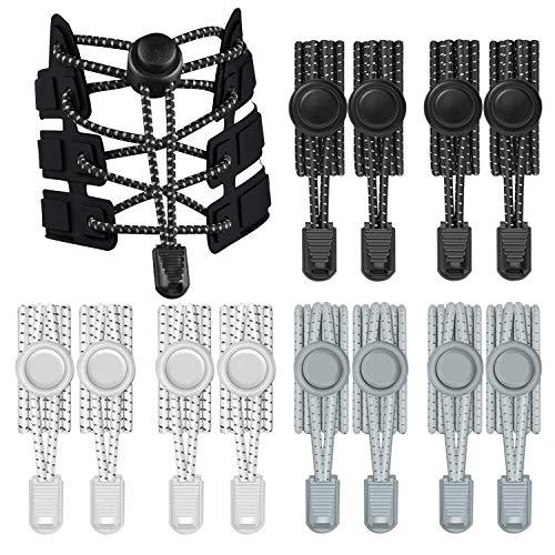 Th-some 6 Paar Elastische Schnürsenkel mit Schnellverschluss, Schnellschnürsystem Reflektierende Schnürsenkel für Einzigartigen Komfort, Perfekten Sitz und Starken Halt JAANY