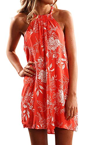 Fronage Women's Casual Sleeveless Floral Mini Dress Summer Beach Halter Neck Dresses (Large, Orange)