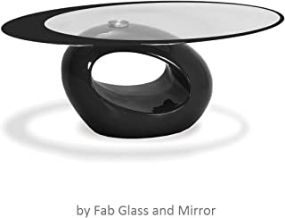 Fab Glass and Mirror Black Glass Coffee table 25.5 X 43.5