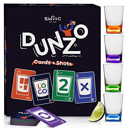 DUNZO - Party Version of Classic Card Game with 4 Unbreakable Shot Glasses - Draw Two, Skip,...