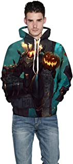 Mens Womens Hoodies Sweatshirt Halloween Pumpkin Skeleton Casual Pullover