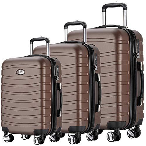 Andreas Dell REISEKOFFER REISEKOFFERSET 3 Set Trolley Koffer Farbe Coffee TSA Schloß XL L M Kofferset REISEKOFFER …
