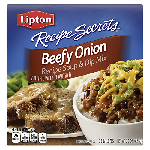 Lipton Recipe Secrets Soup and Dip Mix For a Delicious Meal Beefy Onion Great With Your Favorite Recipes, Dip or Soup Mix 2.2 oz, Pack of 12