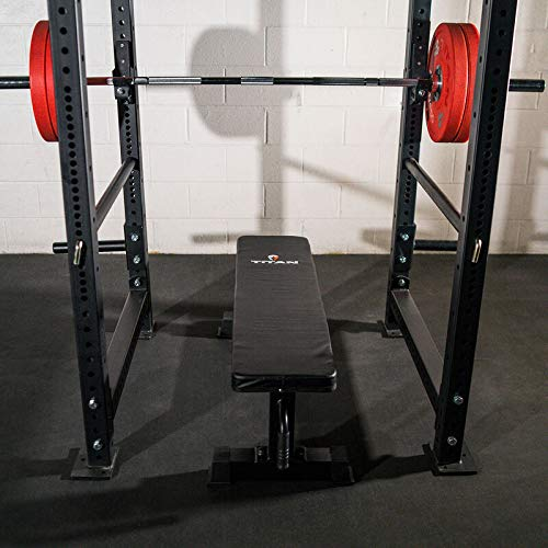 Titan Fitness Weight Bench Flat 1,000 lb. Capacity Wheels Handle Presses Rows