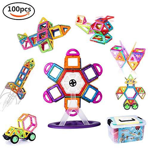 VOOPH マグネットブロック おもちゃ 磁気おもちゃ 磁石ブロック ピタゴラスおもちゃ 男の子 女の子 子ども ぶろっく オモチャ 子供 立体パズル 組み立て 幼児 オモチャ 積み木 DIY 知育玩具 学習玩具 図形 ビルディング積み木 磁気構造 想像力