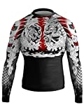 Raven Fightwear Men's Tiger and Dragon 1.0 Rash Guard MMA BJJ Black Large