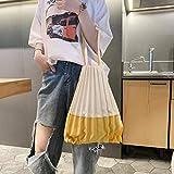Bolso pequeño Lona plegable femenina Casual Bolsa de mensajero con paneles Plisado Exportación Bolsa de protección del medio ambiente Mujer - Amarillo