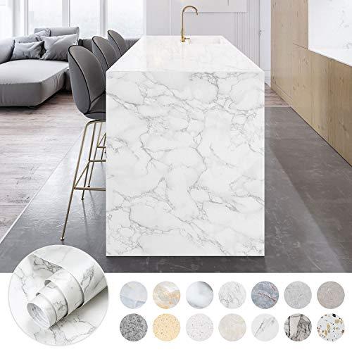 iKINLO 61 x 500 cm Marmor Folie Selbstklebende klebefolie PVC Wasserdicht Marmorfolie Möbelfolie Granit küchenfolie DIY Dekofolie Tapete für Schlafzimmer Küche Schrank Tisch, Typ D