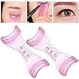 Plantillas delineadoras para los ojos de plástico, color rosa, utensilios para maquillaje, para principiantes, 2 unidades