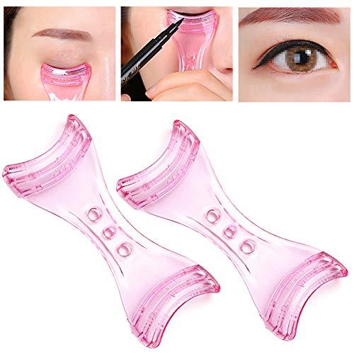 2 Stück Pink Plastic Eyeliner Assistant Karten Eyeliner Forms Schablonen Guide Vorlagen Upper Under Liner Augen Makeup Aid Tools für Makeup Anfänger