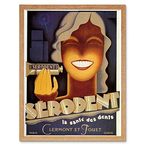 Wee Blauwe Coo Advert Serodent Tandpasta Gezondheid Smile Tanden Frankrijk Art Print Ingelijste Poster Muurdecoratie 12X16 Inch