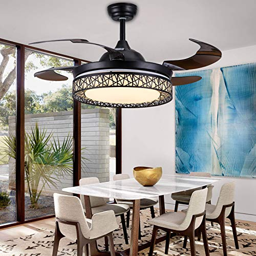 """Moooni Dimmable Fandelier Retractable Ceiling Fans with Lights and Remote Modern Invisible Chandelier Fan Art Deco Black 42"""""""