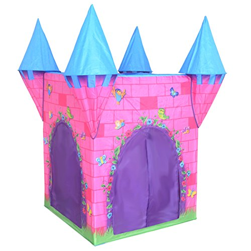 Charles Bentley Kid's Deluxe Pink Princess Castle Play Tent Indoor Outdoor Use