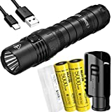 Nitecore MH12S 1800 Lumen USB-C Rechargeable Tactical Flashlight with Two 5000mAh Battery and LumenTac Battery Case