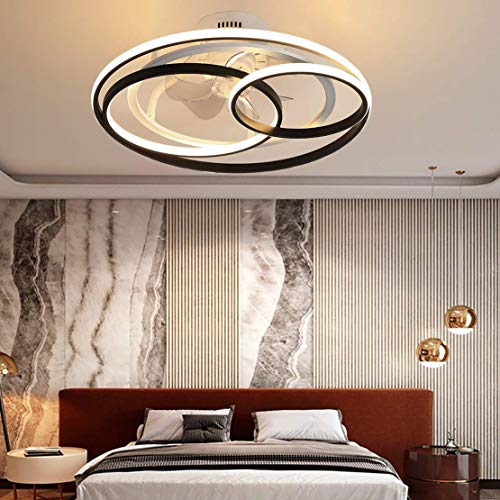 SXYRN Ring Ceiling Fan with Light Modern Quiet Fan Dimmable Ceiling Light with Remote Control Hidden Fan Bedroom Ceiling Lamp,53cm