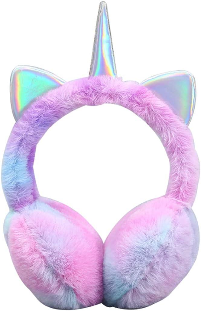 Lnrueg Winter Earmuff Cute Plush Animal Horn Fluffy Ear Warmer Outdoor Ear Cover for Girl Boy Snowing Skiing Sports