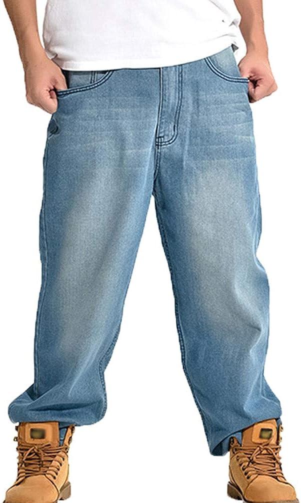 Men's Straight Fit Jeans Oversized Hip Hop Denim Pants Street Skateboard Jeans