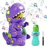 Magicfun Máquina de Burbujas, Soplador Automático de Burbujas de Dinosaurio con Música y Luz para Niños, Juguetes de Burbujas con Solución de Burbujas para Baño Fiestas Navidad