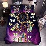 NTBED Galaxy Dreamcather Comforter Set Queen Purple Butterfly Dream Cather Lightweight Microfiber Bedding Boho Quilt for Kids Teens Girls