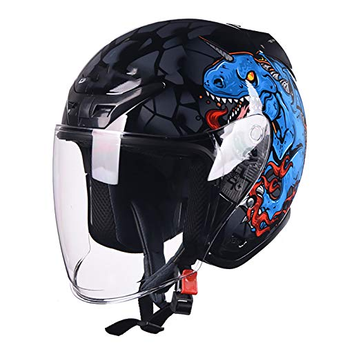 3/4 Casco de motocicleta Casco jet Moto Lente extendido a prueba de viento Hebilla de liberación rápida DOT/ECE Cascos de ciclismo de media cara Hombres Mujeres Casco de media cara C,XL(60~61cm)