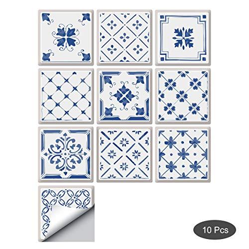 decalmile 10 Stück Fliesenaufkleber 15x15cm Blaues und Weißes Wandfliese Fliesensticker Küche Badezimmer Deko