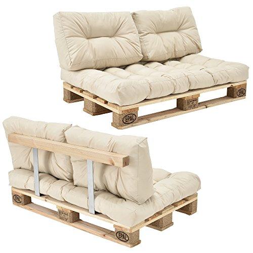 [en.casa]] Sofá de palé - europalé de 2 plazas con Cojines - (Beige/Crema) Set Completo, Incluido Respaldo