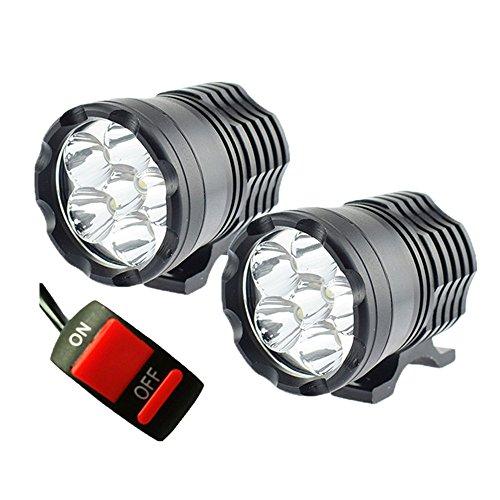 GZLMMY 1 Paar Motorrad LED Scheinwerfer 12V 120W 10000LM U2 LED Motorrad Beam Frontscheinwerfer Moto Spot Head Light AUX Lampe DRL (120W)